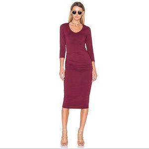 NWT Michael Stars Ruched Midi Dress in Olive Small